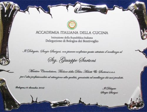 Attestato d'Eccellenza al sig. Giuseppe Sartoni – Maestro Cioccolatiere